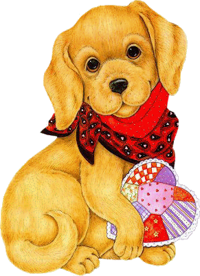Chien avec un foulard et- un coeur
