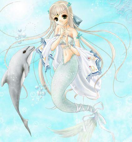 sirène avec un dauphin