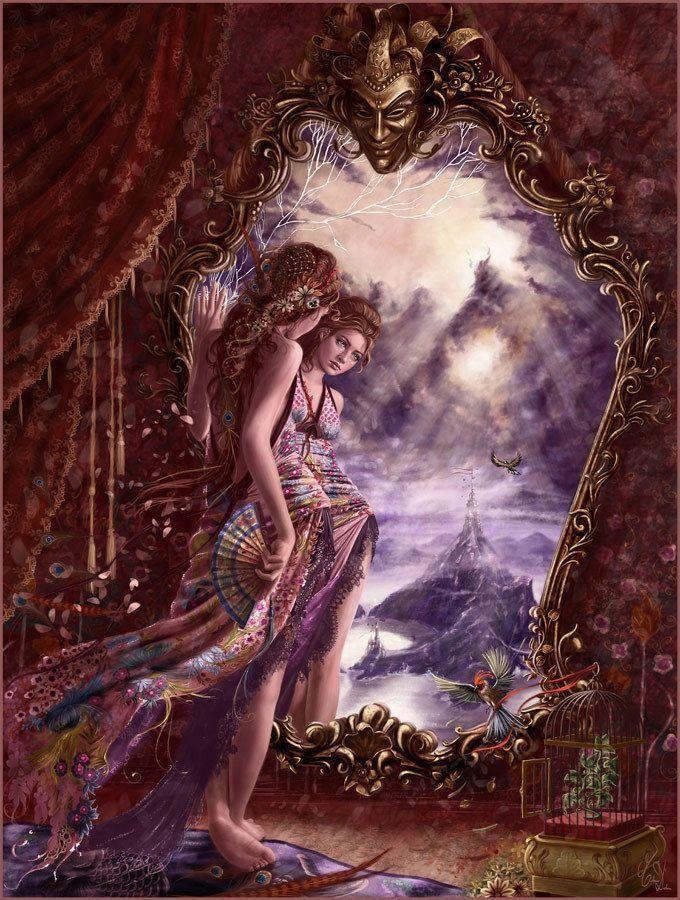 Femme qui se regarde dans un miroir for Regarde toi dans un miroir