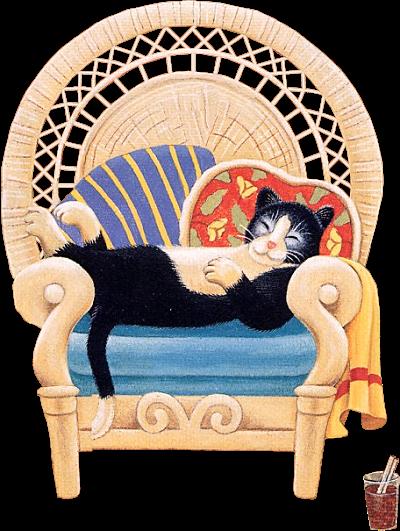 chat noir qui dort dans un fauteuil