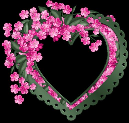 Coeur vert avec des fleurs roses centerblog - Coeur avec des fleurs ...