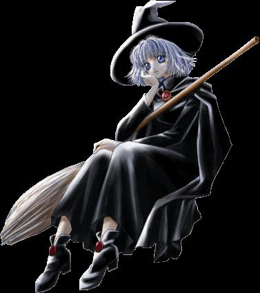 sorcière avec son balai