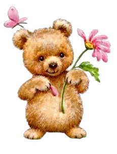 ours avec une fleur